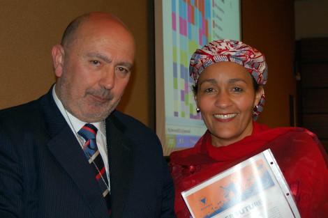 Con la delegada de la ONU para los Objetivos de Desarrollo.